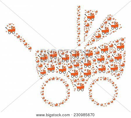 Baby Carriage Figure Organized In The Combination Of Baby Carriage Design Elements. Vector Iconized