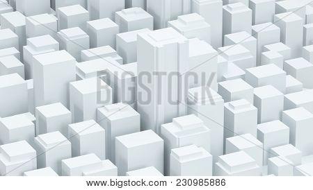 White Schematic City Buildings Background 3d Illustration Render