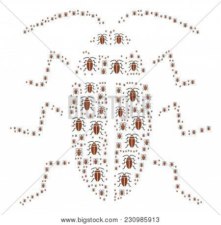 Cockroach Illustration Combined In The Collection Of Cockroach Design Elements. Vector Iconized Comp