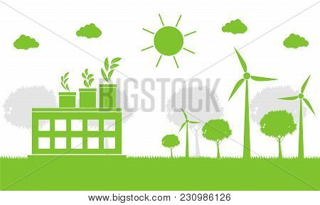 Factory Ecology,industry Icon,wind Turbines With Trees And Sun Clean Energy With Eco-friendly Concep