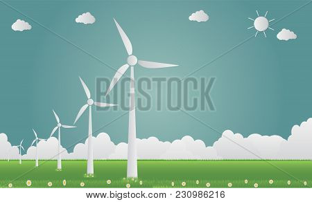 Wind Turbines With Sun Clean Energy With Road Eco-friendly Concept Ideas.vector Illustration