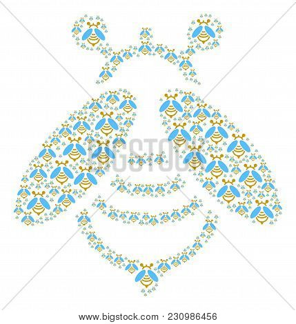 Bee Pattern Done In The Figure Of Bee Design Elements. Vector Iconized Composition Constructed With
