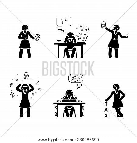 Stick Figure Busy Accountant Woman Icon. Vector Illustration Of Tax Calculation On White