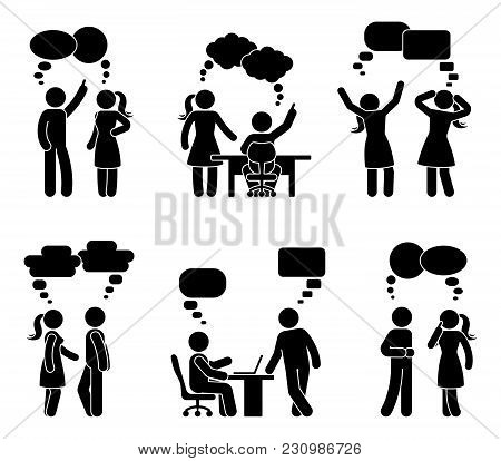 Stick Figure Workplace Couple Dialog Bubbles Set. Vector Illustration Of Employee Conversation On Wh
