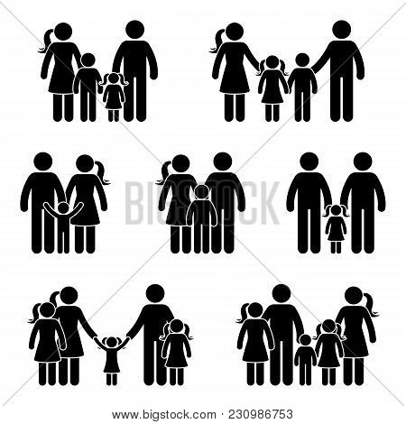 Stick Figure Generation Icon Set. Vector Illustration Of Different Generation On White