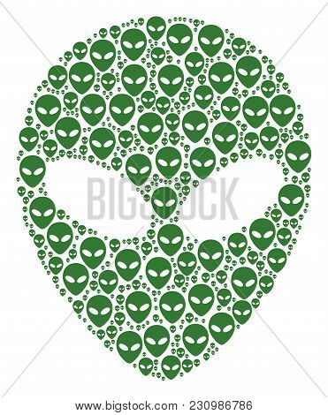 Alien Face Collage Organized In The Collection Of Alien Face Design Elements. Vector Iconized Compos