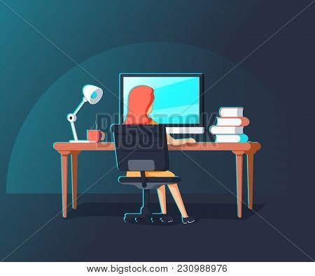 Woman Working With Laptop At Her Work Desk, Looking At Monitor. Gradient Line Vector Illustration Of