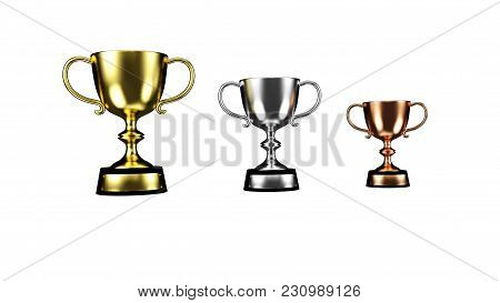 Gold, Silver, Bronze Cups Set Isolated On A White Background 3d Illustration Render