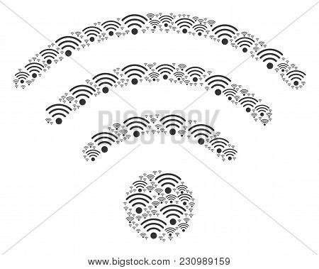 Wi-fi Source Pattern Designed In The Figure Of Wi-fi Source Design Elements. Vector Iconized Collage