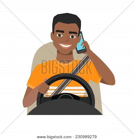 Black African American Man Driving A Car Talking On The Phone. Vector Cartoon Character