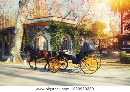 Walk In Horse-drawn Carriage Around The City,, Seville, Spain, February 2018.