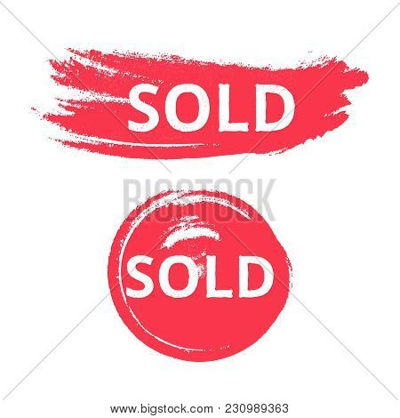 Sold Splattered Grunge Vector Circle Set Isolated On White Background. Business Red Blob For Ecommer