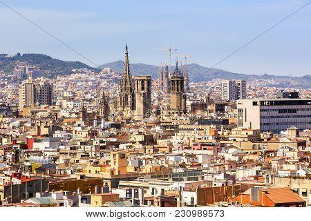 Barcelona, Spain - May 27, 2016: Aerial View Of Barcelona Churches, La Cathedral De La Santa Cruz Y