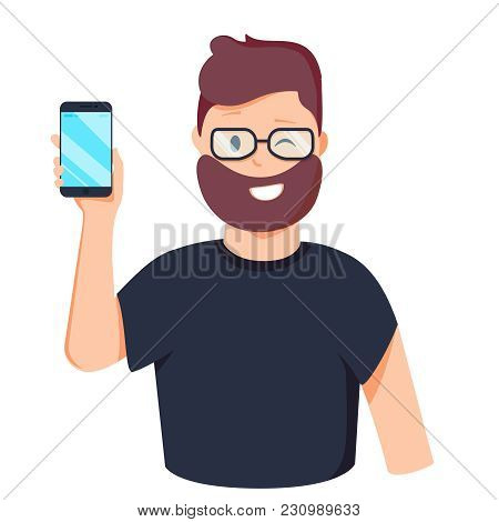 Man Is Showing The Phone. People And Gadgets. Vector Illustration In Cartoon Style. Young Attractive