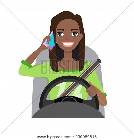 Black African American Woman Driving A Car Talking On The Phone. Vector Cartoon Character