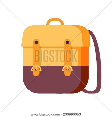 Backpack Vector School Symbol. Travel Icon In Flat Style. Student Or Tourist Bag With Baggage Isolat
