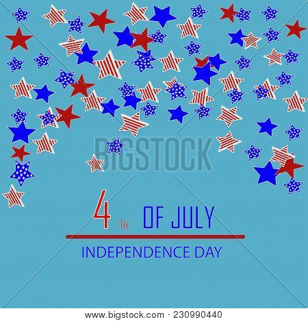 Vector Illustration Of A Card By An Independence Day. A Set Of Stars On A Blue Background.