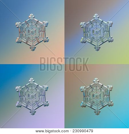 Set With Four Color Variants Of Real Snowflake, Glittering On Smooth Gradient Background: Small Snow