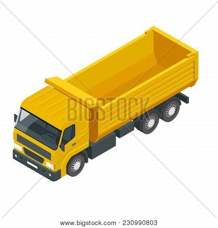 Isometric A Dump Truck, Dumper, Tipper Truck Isolated On White. Truck Used For Transporting Loose Ma