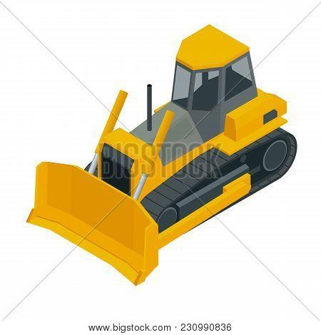 Isometric Yellow Bulldozer Excavator, Isolated On White Background. Vector Illustration Bulldozer Ic