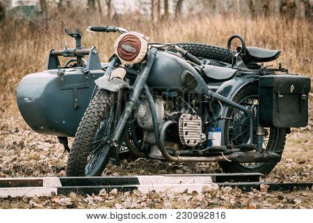 Gomel, Belarus - November 26, 2016: Retro - Motorcycle Of Gray Color Of German Manufacture Of The Ti
