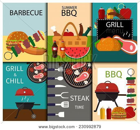 Barbecue Grill Food Banner Vector Illustration. Summer Barbecue Party Flat Icons Collection With Gri