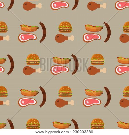 Barbecue Grill Pattern Food Vector Illustration. Summer Barbecue Party Flat Icons Collection With Gr