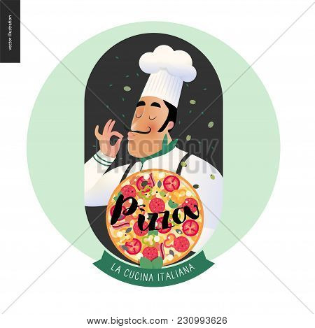 Italian Restaurant Set - Italian Restaurant Logo With A Cook Enjoing The Pizza Smell