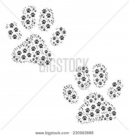 Paw Footprints Collage Organized In The Group Of Paw Footprints Design Elements. Vector Iconized Com