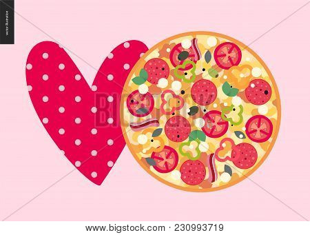 Italian Restaurant Set - Love Pizza - Pizza And Heart