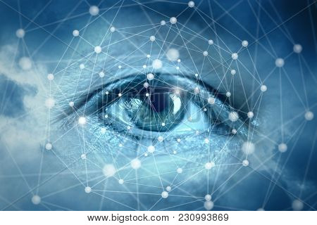 Eyes Looking At Network Connections. The Concept Of Monitoring Your Network.