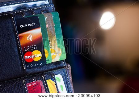 Ryazan, Russia - February 27, 2018: Number Of Different Credit Cards In A Leather Wallet