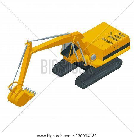 Isometric Hydraulic Excavator Isolated On White Background. Excavators Hydraulic, Heavy Construction