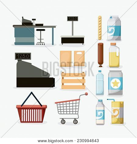 Supermarket Icons Colorful Collection With Cash Register Vector Illustration