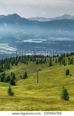Ski Lift Pylon In Summer In The Alps