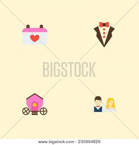 Set Of Marriage Icons Flat Style Symbols With Brougham, Groom Suit, Just Married And Other Icons For