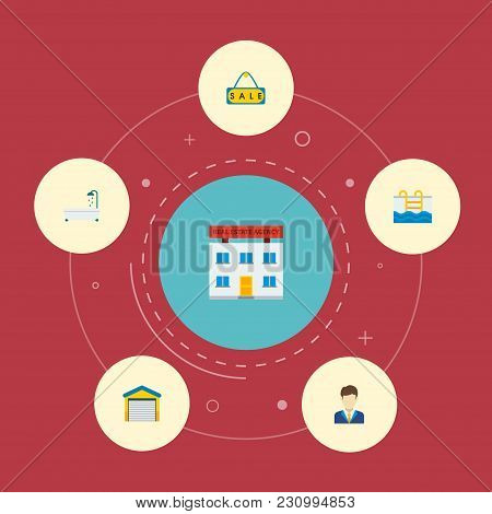 Set Of Realestate Icons Flat Style Symbols With Sale Sign, Garage, Pool And Other Icons For Your Web