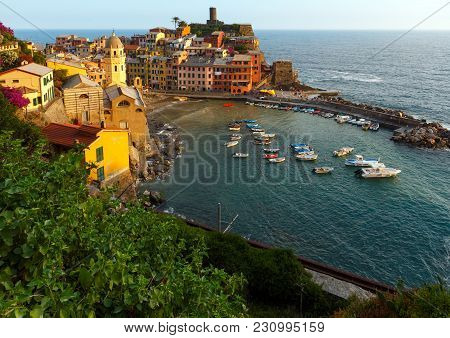 Beautiful Sunset In Summer Vernazza - One Of Five Famous Villages Of Cinque Terre National Park In L