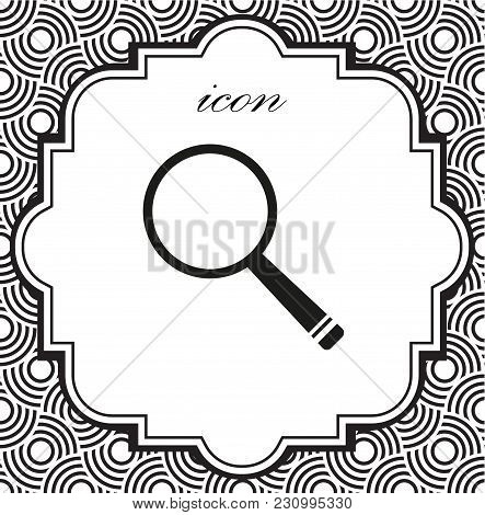 Vector Icon Magnifier On A Geometric Background Of Eps
