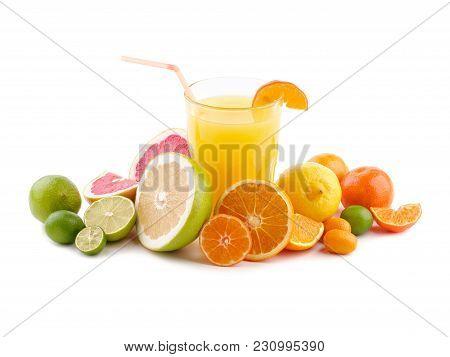 Exotic Flat Lay. Orange Juice With Exotic Citrus Fruits Around. Refreshing Orange Juice . Exotic Mix