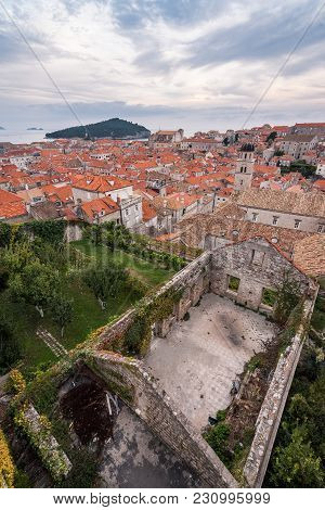 Walls Of Dubrovnik -  Old Town With Destroyed Building