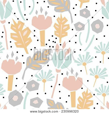 Cutout Paper Flower Seamless Vector Pattern. Floral Botanics In Pastel Color Modern Pallete Fro Fabr