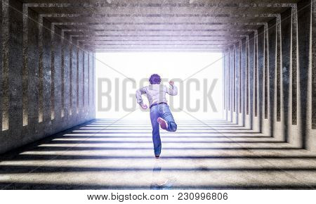 man run in concrete modern architecture background 3d rendering image