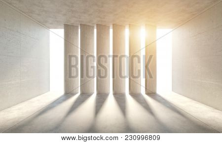 abstract concrete room with natural light 3d rendering image