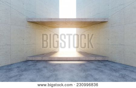 modern concrete gate and natural sun light 3d rendering image