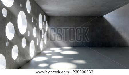 concrete indoor and circle holes windows 3d rendering image