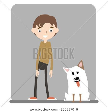 Teenage Boy Standing And Playing With His Fluffy Red Dog, Puppy, Cartoon Vector Illustration On Whit