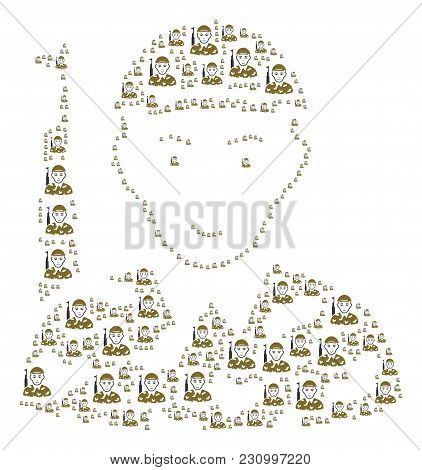 Soldier Composition Done In The Shape Of Soldier Pictograms. Vector Iconized Composition Made With S