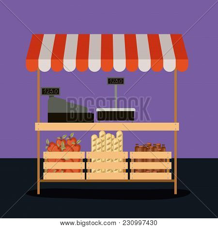 Supermarket Colorful Background Of Pay Point With Sunshade And Wood Baskets With Apples Bread And Sa
