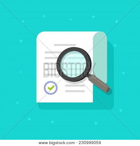 Document Research Vector Illustration, Flat Cartoon Paper Sheet Doc Exploring Via Magnifying Glass,